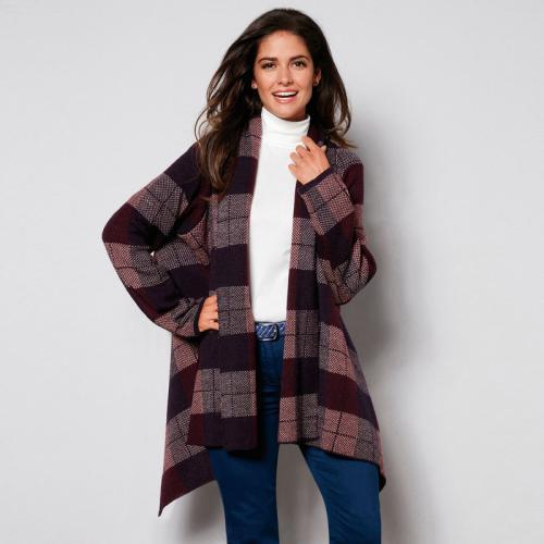 3 Suisses - Veste cape en tricot manches longues femme exclusivité 3Suisses  - Bleu Marine - bd11aab6fb04