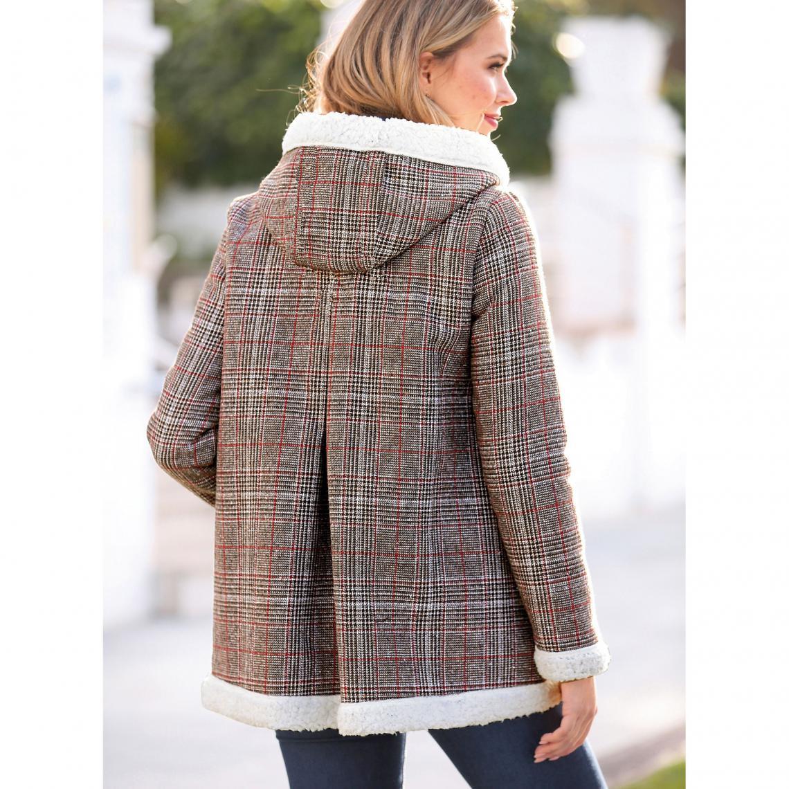 Manteau à carreaux zippé capuche et doublure fourrure femme exclusivité  3Suisses - Carreaux Marron 75a27cb58ec6