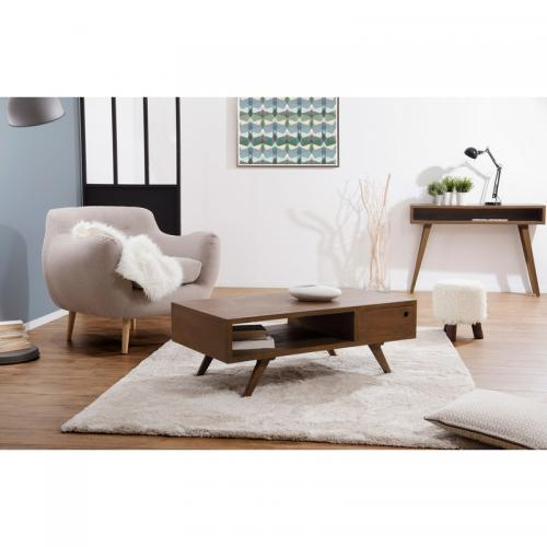3 SUISSES - Table basse 1 tiroir double style scandinave - Cannelle - Salon