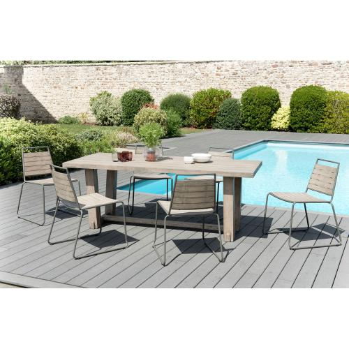MACABANE - Ensemble table rectangulaire + 6 chaises empilables en teck massif et métal - Ensemble table, chaise