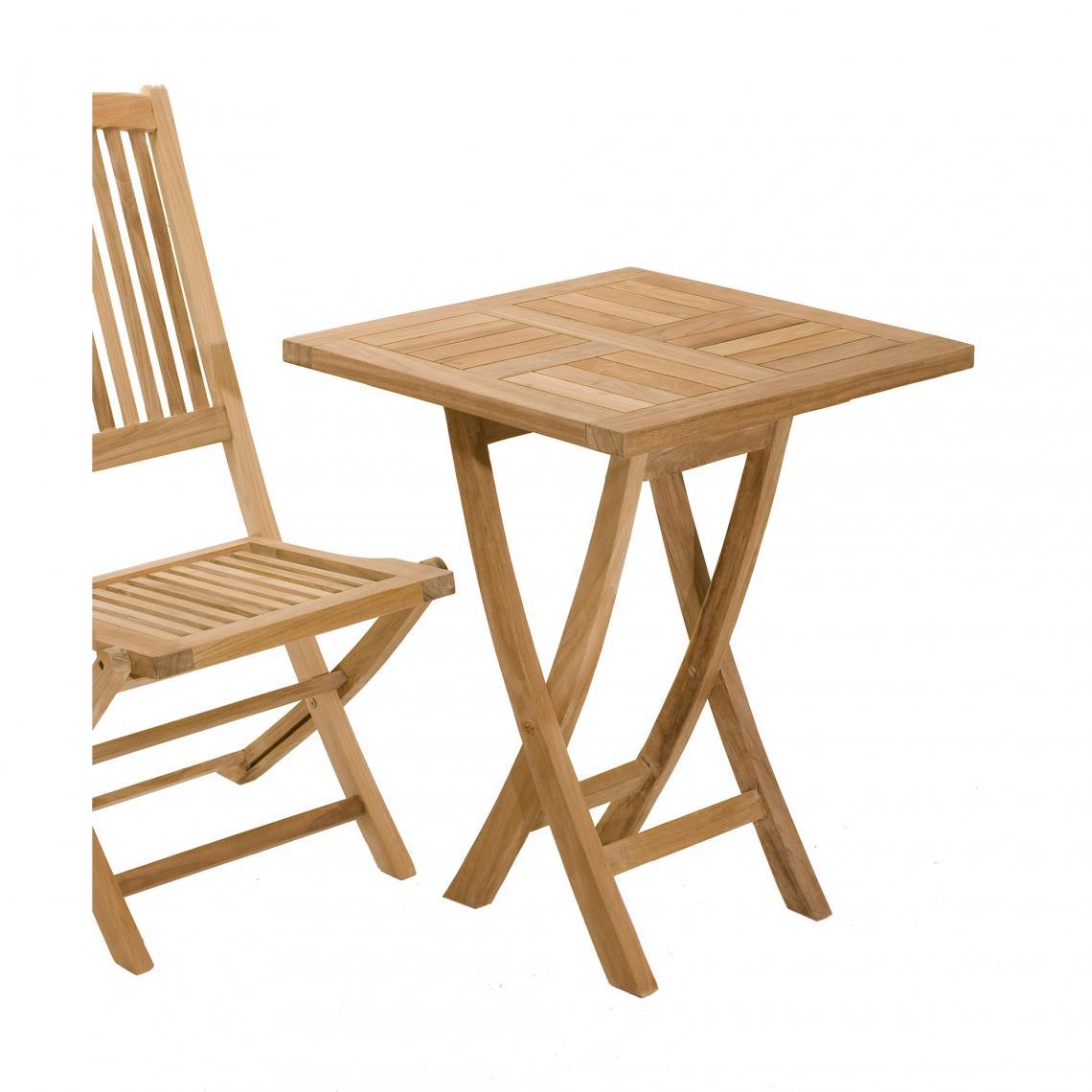 Table carrée pliante 60 cm en teck massif - Teck | 3 SUISSES