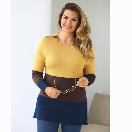 3 SUISSES - Pull tricolore manches longues zip épaule femme Exclusivité  3SUISSES - Marron - Promos fd317b4e2dd