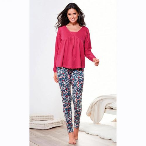 a3c412bbb5966 Pyjama manches longues pantalon imprimé femme - Imprimé Rouge
