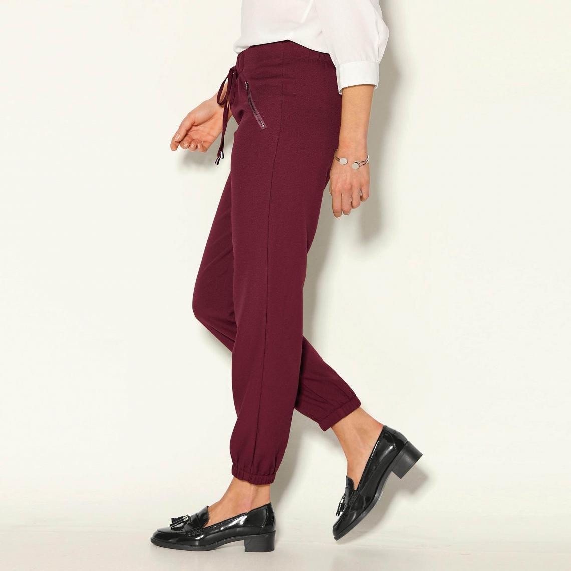 62c68ffecacc Pantalon taille et bas élastiqués froncés femme - Rouge Grenat 3 SUISSES  Femme