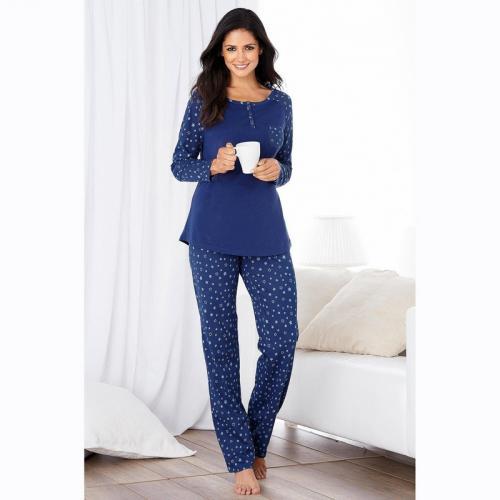 86aa7b6d39a63 3 SUISSES - Pyjama manches longues pantalon imprimé femme - Bleu - Lingerie  de nuit
