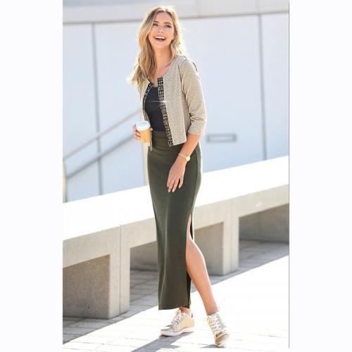 7a795922eb2b 3 SUISSES - Jupe longue taille élastique fente latérale femme - kaki foncé  - Jupes longues