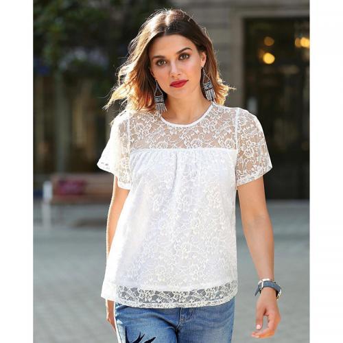 e56d10f4d50 3 SUISSES - Tee-shirt manches courtes cape en dentelle femme - Blanc - T