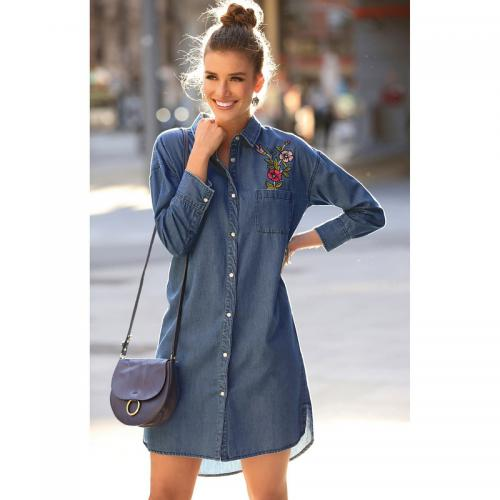 3 SUISSES Collection - Robe-chemise en jean manches longues broderie femme - Bleu - Robe courte