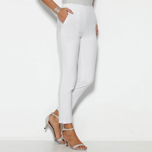51d933cea4ff 3 SUISSES - Pantalon taille élastique et pinces dos femme - Blanc - Mode Grande  Taille