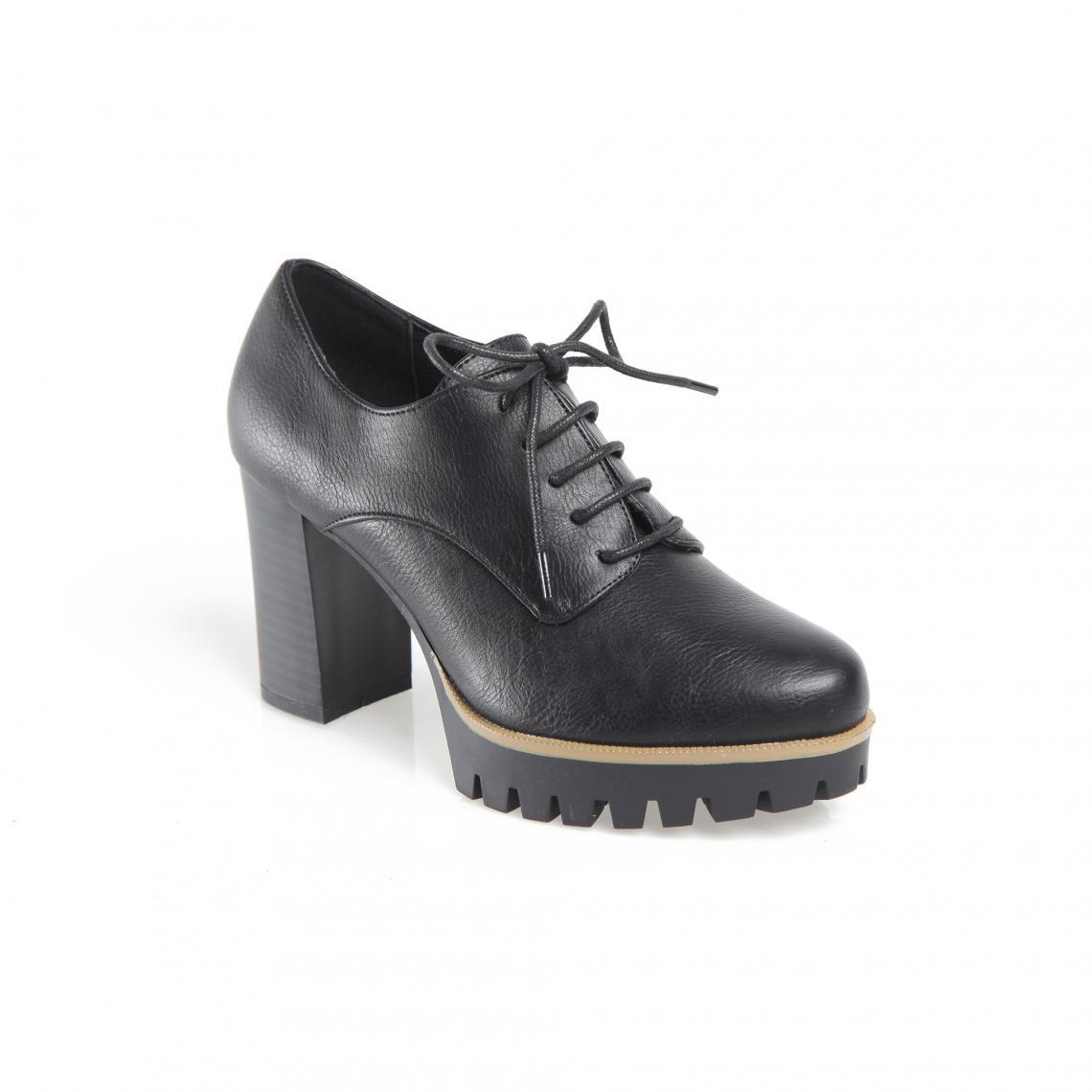 Promo : Chaussures à lacets talon haut et plateforme dentelée femme - Noir