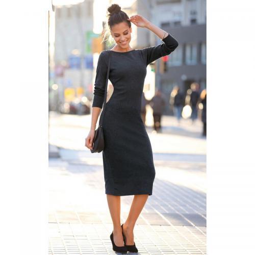 Robe mi-longue en tricot col bateau manches longues femme Exclusivité  3SUISSES - Gris Anthracite Chiné 1ac6e676e3c3