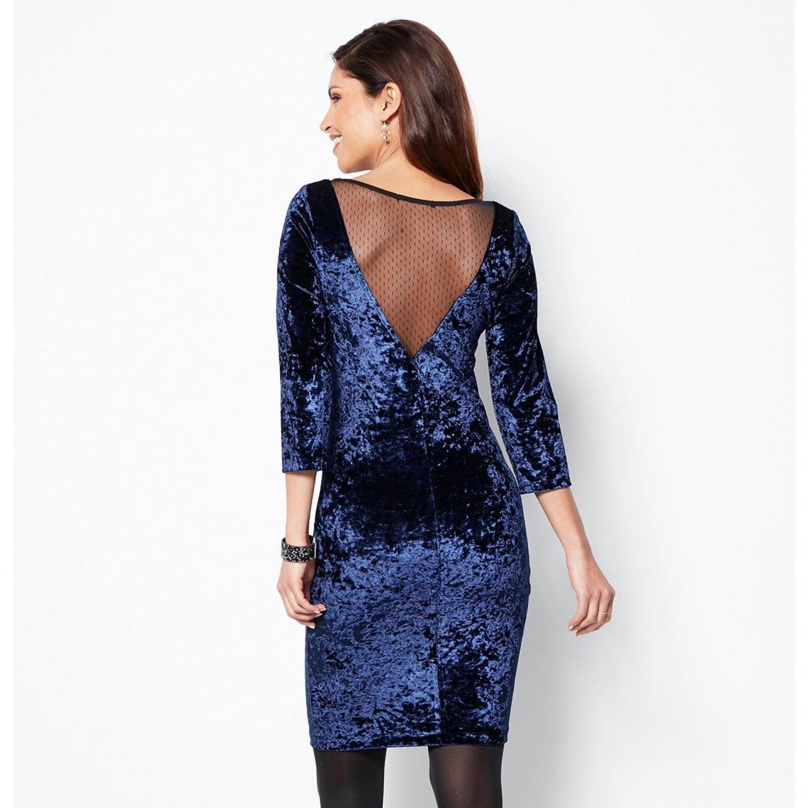 Robe en velours et dentelle manches 3\/4 femme - Bleu wIpXz
