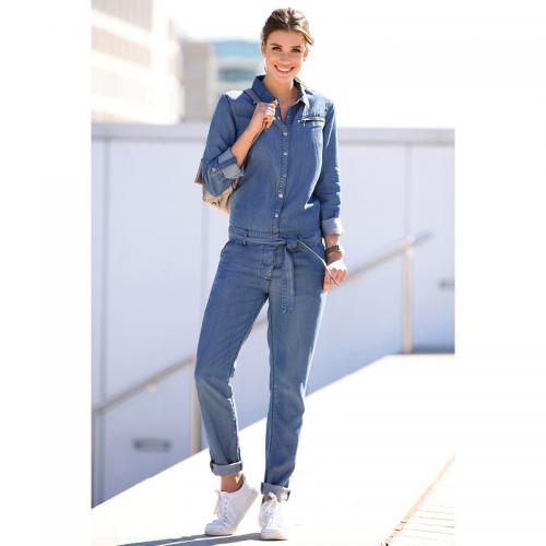 3 Suisses - Combinaison en jean manches longues et ceinture femme  Exclusivité 3SUISSES - Bleu - 08b1e0843b6