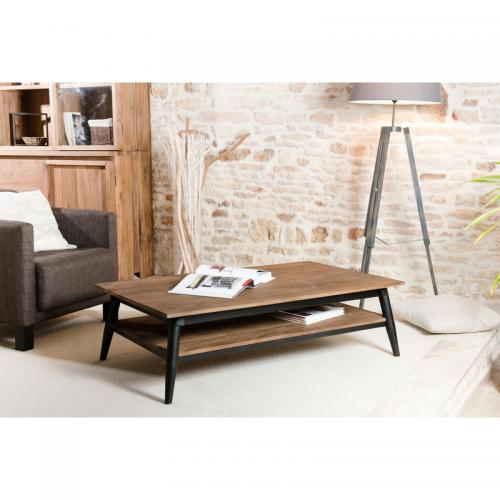 MACABANE - Table basse rectangulaire double plateau 120 x 70 cm en teck recyclé Scandi - Brun - Table basse