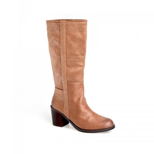 d7a5fdf9852ffb 3 SUISSES - Bottes zippées tige haute avec surpiqûres femme - Camel -  Chaussures femme