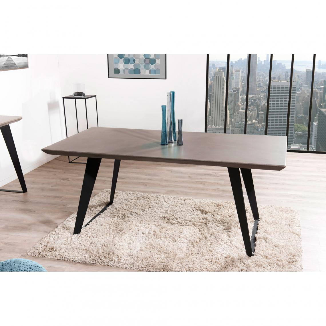Table A Manger Rectangulaire Baton Cire Pieds Metal 180 X 90 Cm