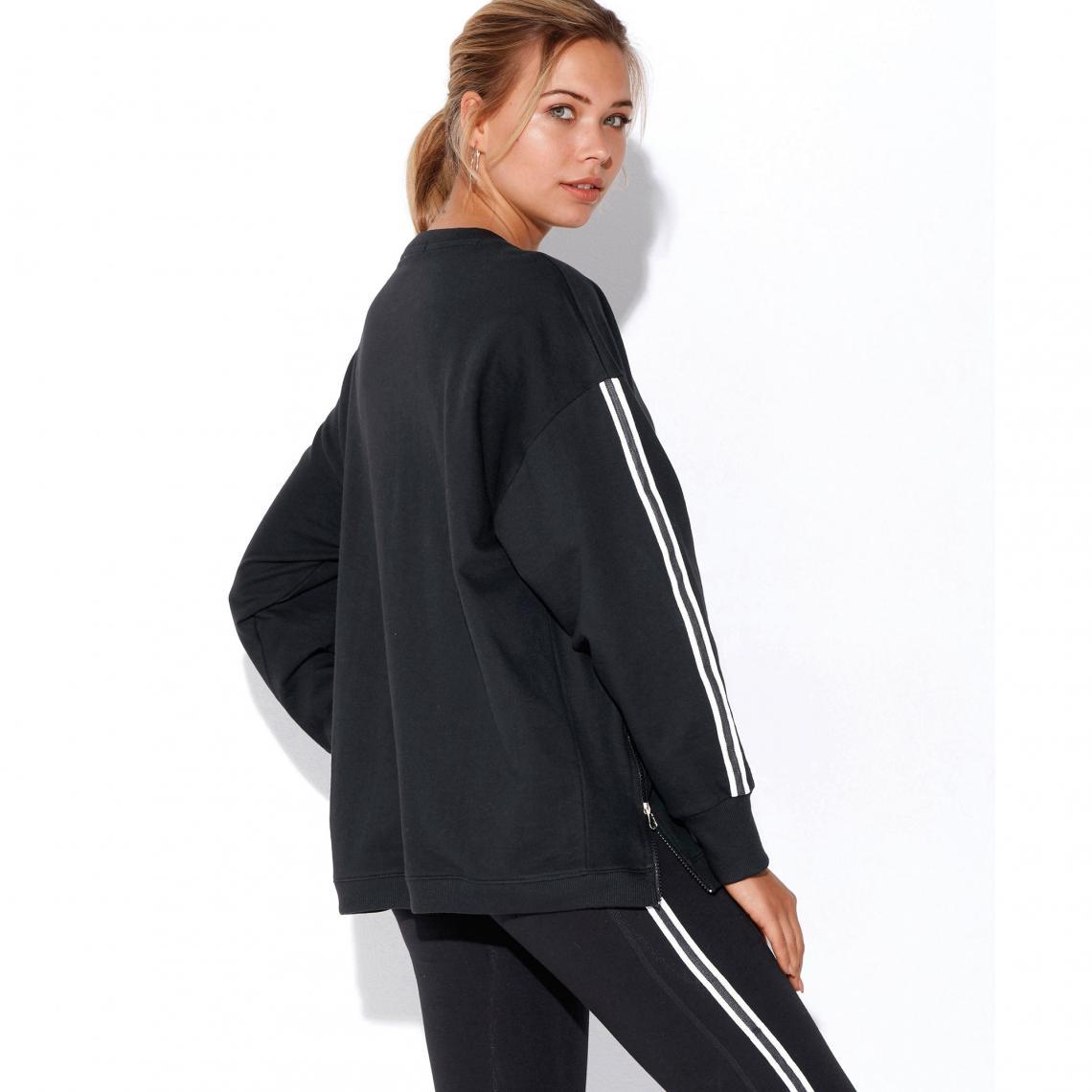 73bd46880e0 Sweat fitness manches longues zips devant femme - Noir 3 SUISSES