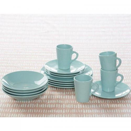 3S. x Home - Lot de 4 Assiettes à dessert en faïence - Bleu - Arts de la table