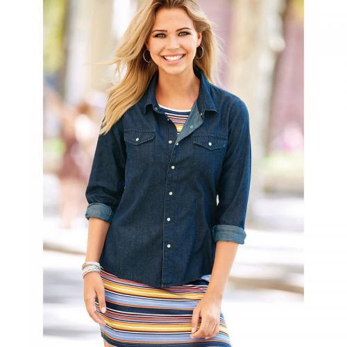 3 Suisses - Chemise en jean à pressions manches longues femme Exclusivité  3SUISSES - bleu foncé fbfb5ef10441