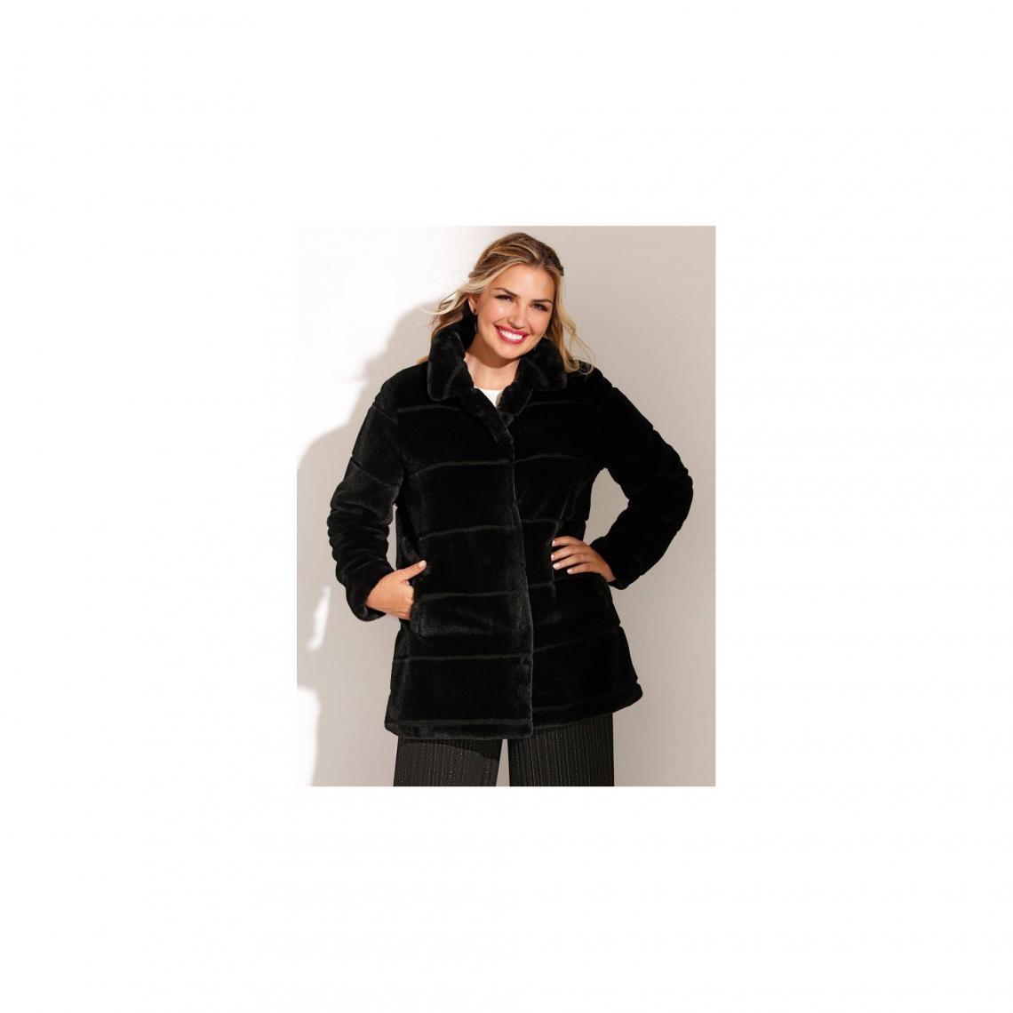 f9756c3256ea Manteaux femme 3 SUISSES Cliquez l image pour l agrandir. Manteau doublé  fermeture par pressions poches femme - Noir ...