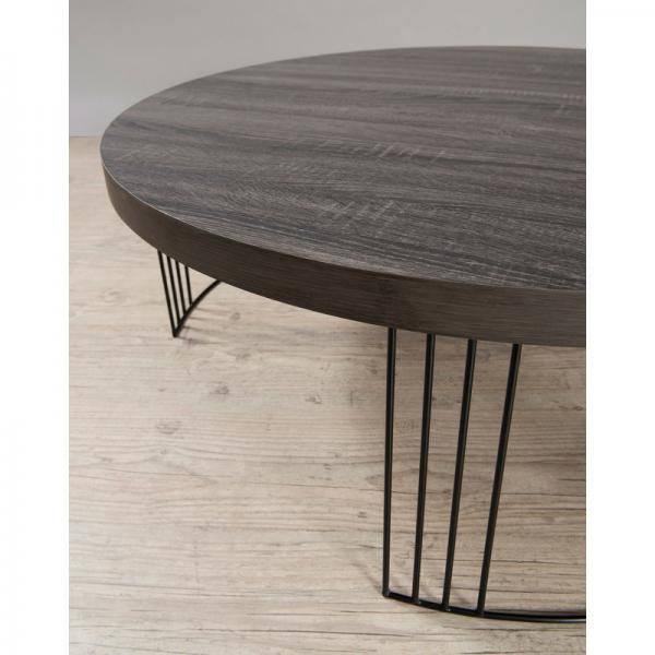 Table Basse Ronde Pieds Metal Aliny 3 Suisses