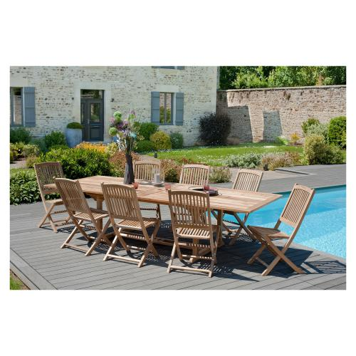 MACABANE - Ensemble table rectangulaire double extension + 8 chaises pliantes en teck massif Lombock - Meuble & Déco
