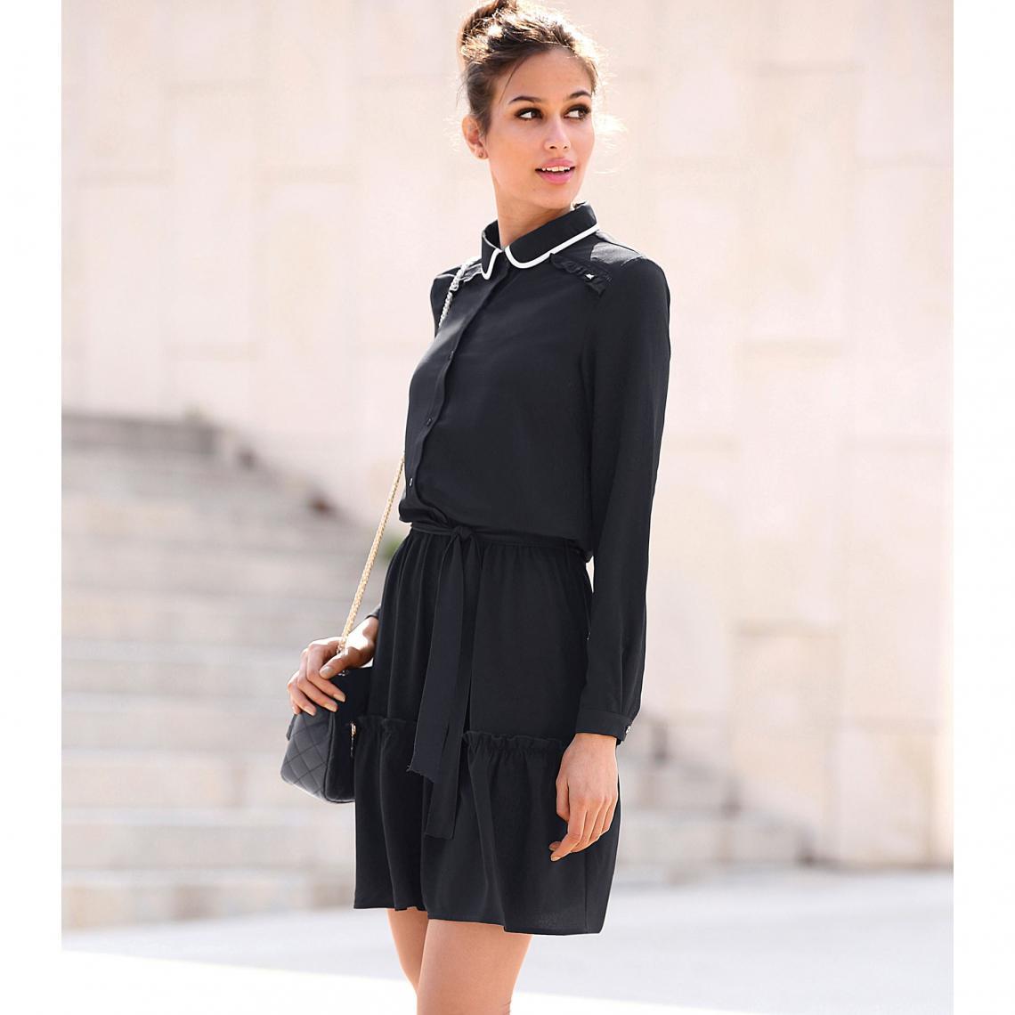 f932af48c6e Robe courte manches longues taille élastique et ceinture contrastée femme -  Noir 3 SUISSES Femme