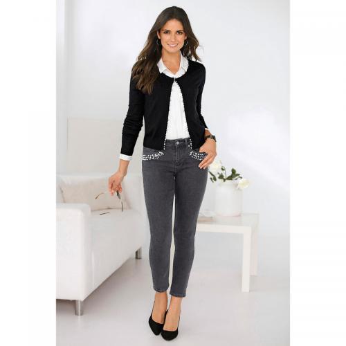 c2a835cfbd722 3 Suisses - Jean skinny taille haute perles et strass fantaisie femme  Exclusivité 3SUISSES - gris