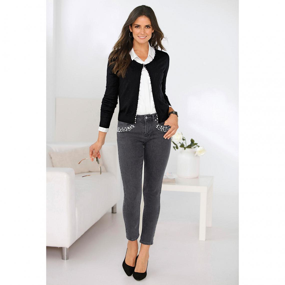 14fc3c7d1e5f Jean skinny taille haute perles et strass fantaisie femme - gris foncé 3  SUISSES Femme