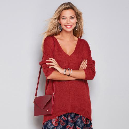 c1a092de32258 3 Suisses - Pull col en V manches longues couture devant femme Exclusivité  3SUISSES - Rouge