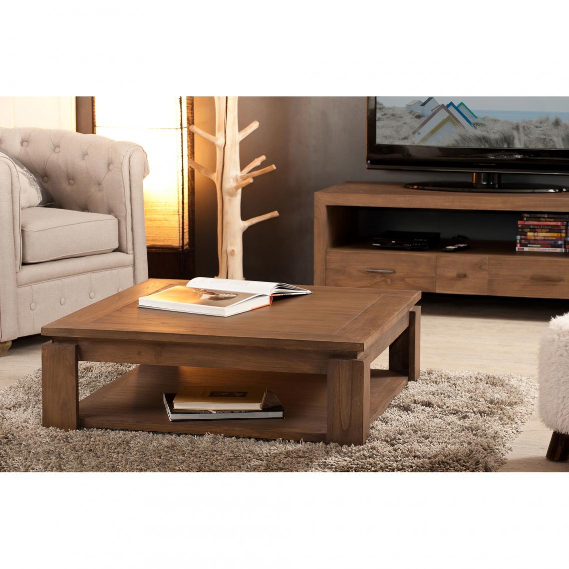 table basse carr e double plateau 90 x 90 cm en bois mindi. Black Bedroom Furniture Sets. Home Design Ideas