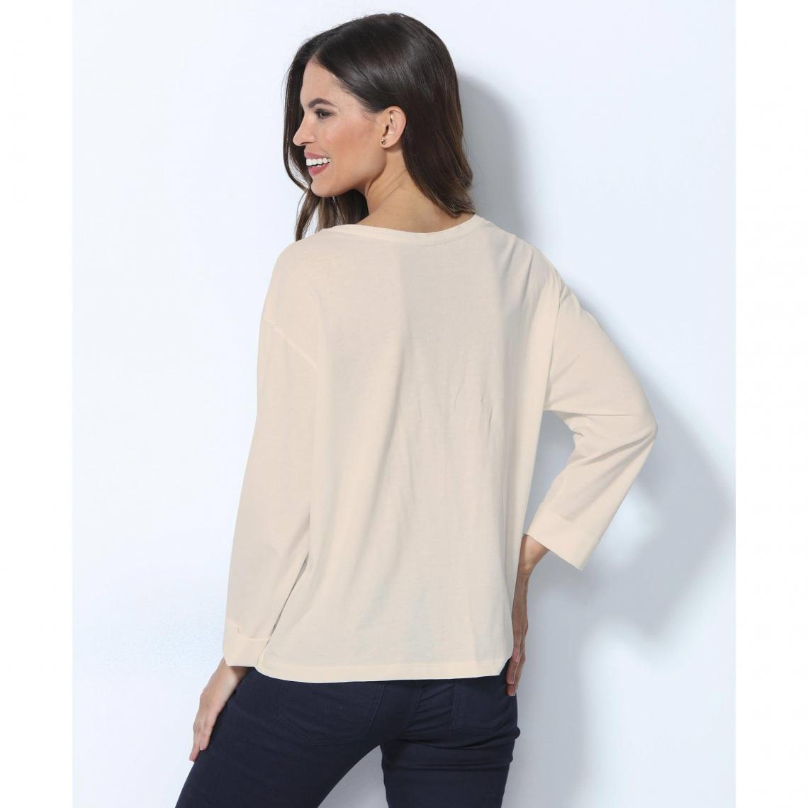 d8321857fbc Tee shirt manches longues femme - Blanc