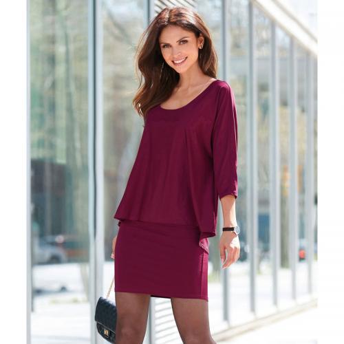 9eaa2634cd1 3 SUISSES - Robe courte 2 épaisseurs col rond manches 3 4 femme - Rouge