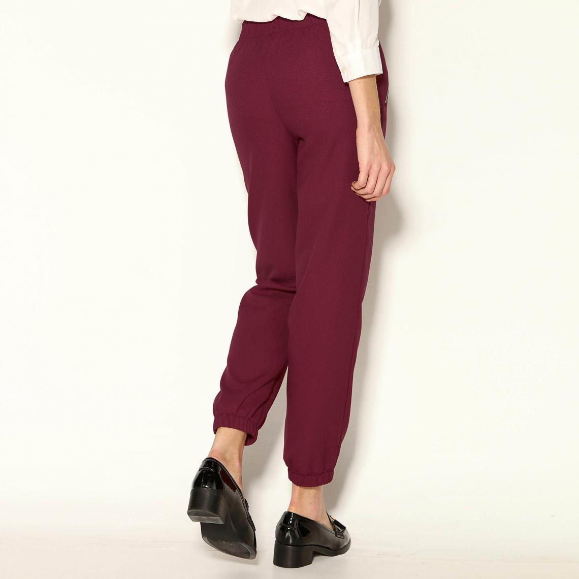 d2c3d49d6bb9 Pantalon taille et bas élastiqués froncés femme - Rouge Grenat 3 SUISSES