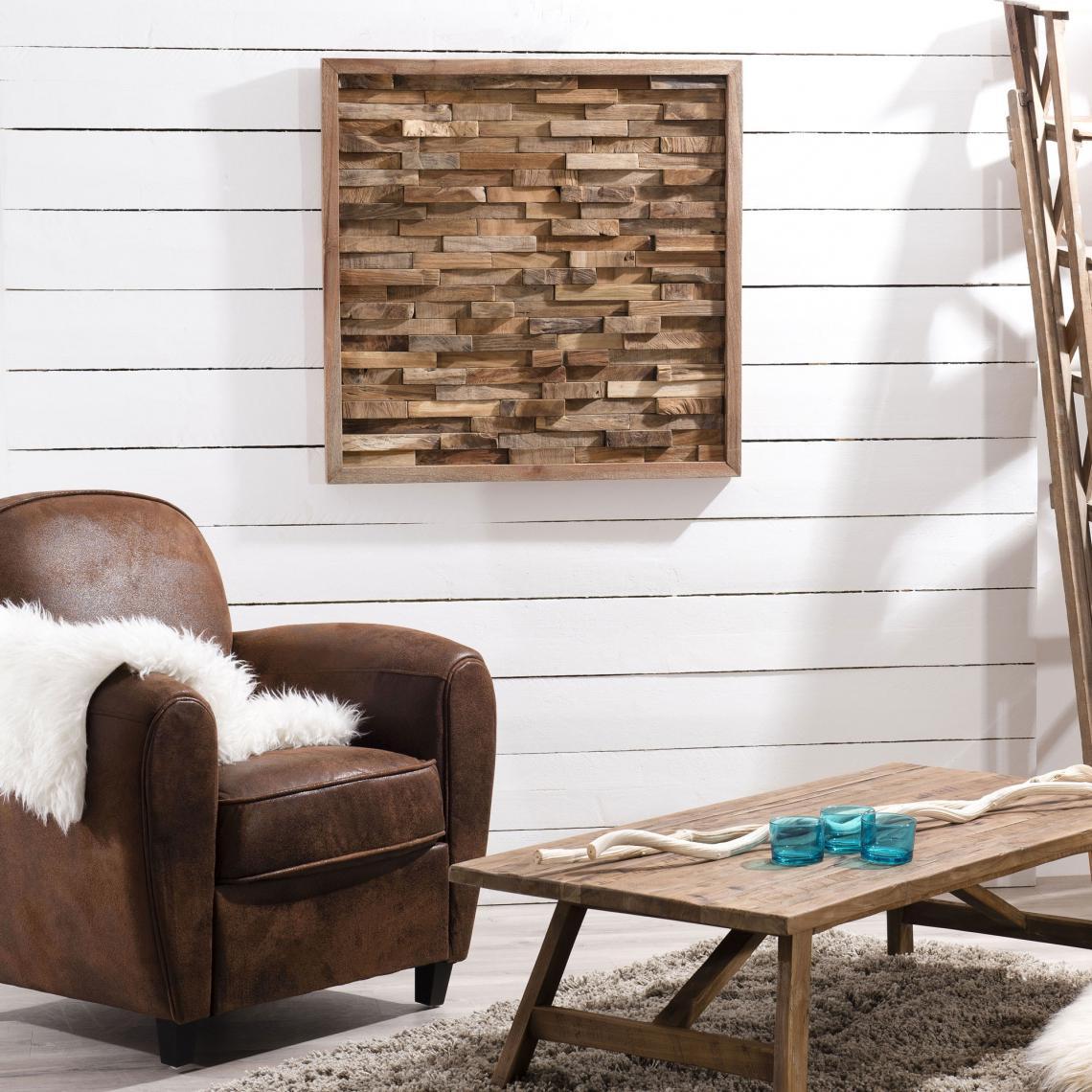 Que Faire Avec Bois Flotté décoration murale carrée avec cadre 80 cm en bois flotté - bois plus de  détails