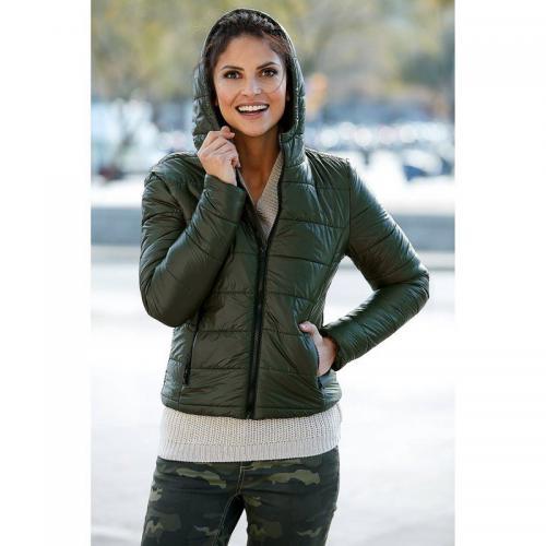 214daea44ef 3 SUISSES - Anorak matelassé zippé à capuche et poches manches longues femme  - Kaki -
