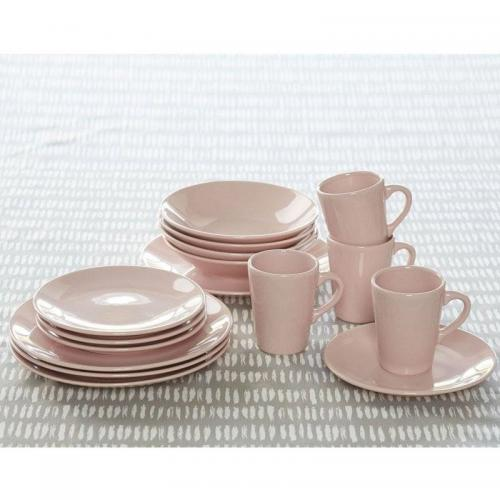 3S. x Home - Lot de 4 Assiettes à dessert en faïence - Rose - Arts de la table