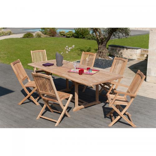 Ensemble table rectangulaire extensible + 4 chaises et 2 fauteuils pliants  en(...) - 3 SUISSES