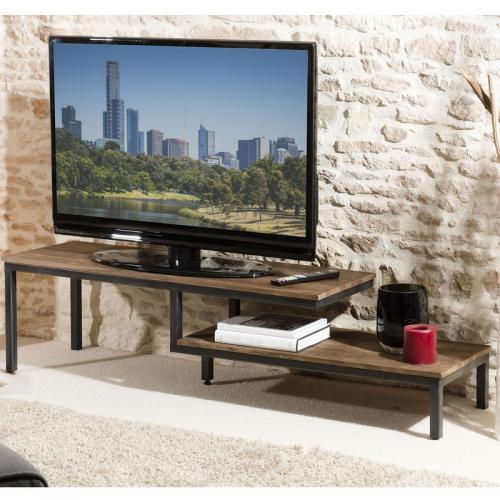 Meuble TV 2 tablettes en teck recyclé et métal - Brun