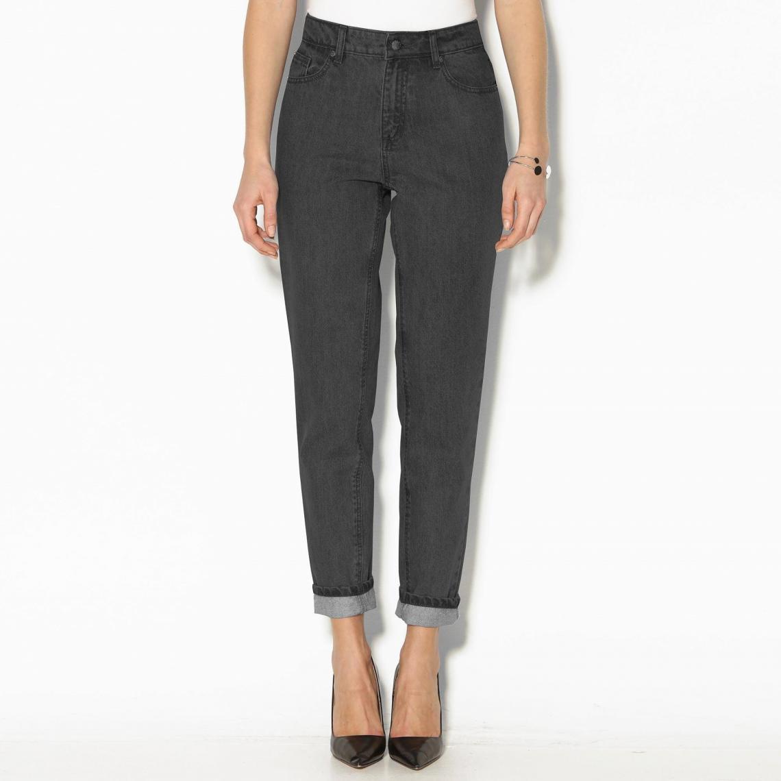 ad72e1b58abc Jean boyfriend 5 poches taille haute femme - gris foncé