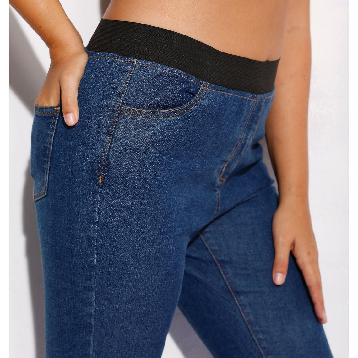 c3913ec9338 Jean taille élastique plane grandes tailles femme - bleu foncé 3 SUISSES