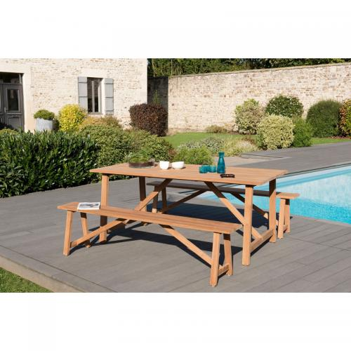 MACABANE - Ensemble table rectangulaire + 2 bancs en teck massif - Teck - Ensemble table, chaise