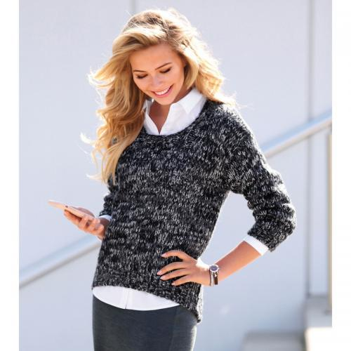 3 SUISSES - Pull asymétrique manches longues aspect mohair femme  Exclusivité 3SUISSES - Gris - Promotions 0e869953cf6