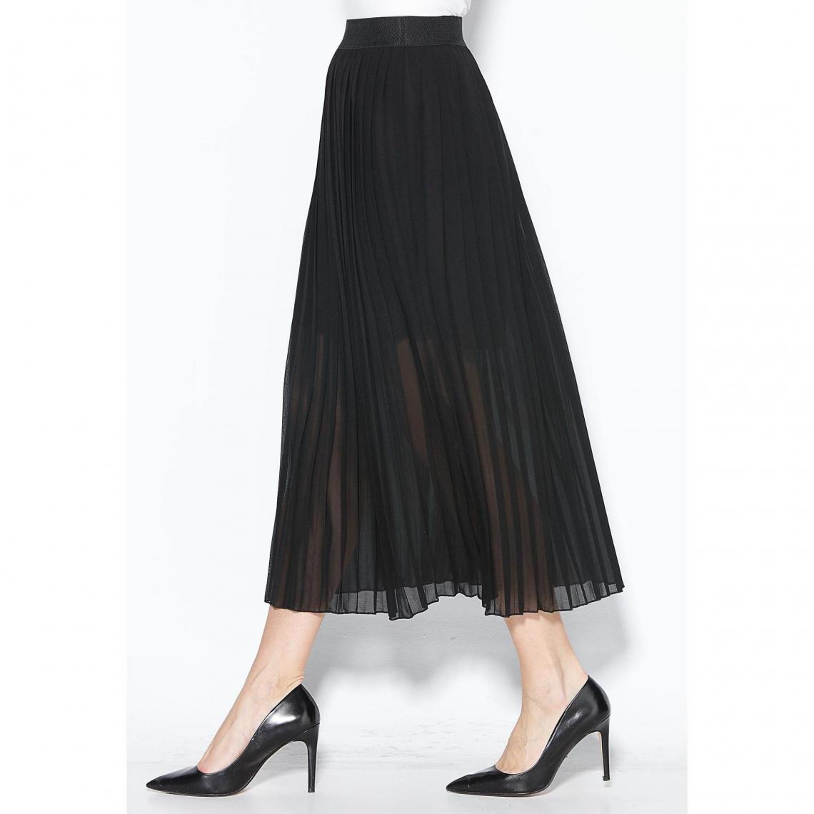68dcf137534442 Jupe longue plissée taille élastique femme - Noir | 3 SUISSES