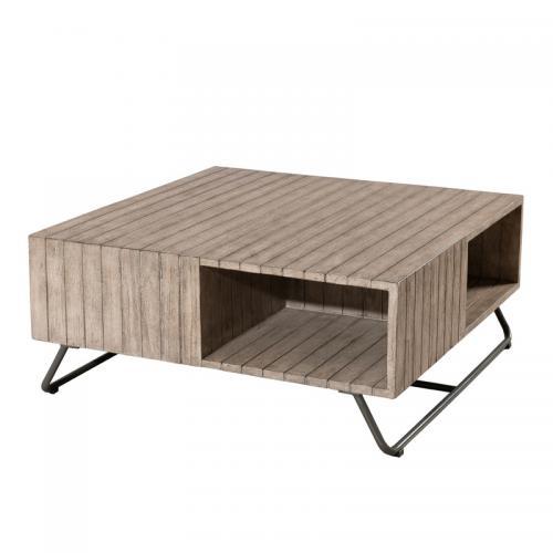 Table basse carrée en teck massif et métal avec niches - Teck - 3 SUISSES