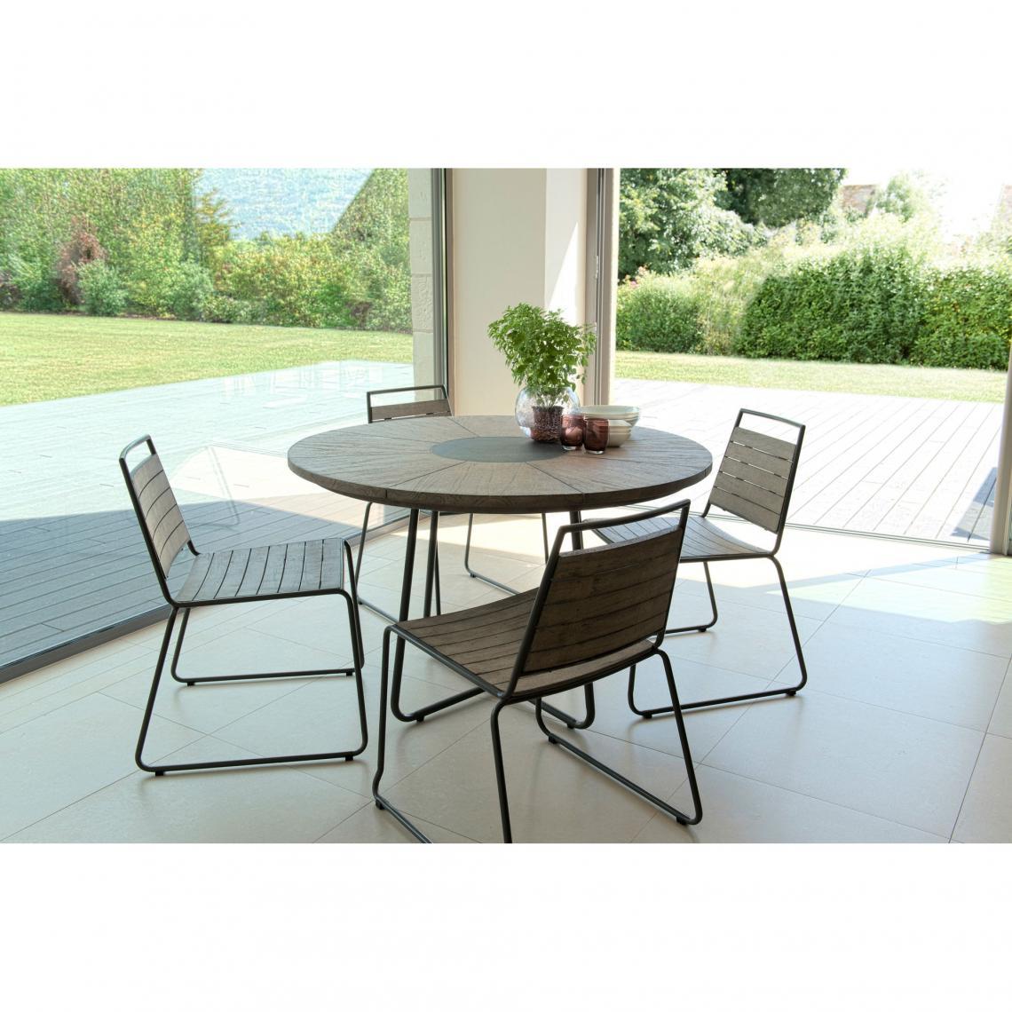 Ensemble table ronde + 4 chaises empilabes en teck massif et ...