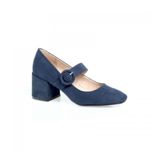 37b2ccdf6a38a 3 Suisses - Chaussures à talon lanière et boucle aspect velours femme  Exclusivité 3SUISSES - Bleu