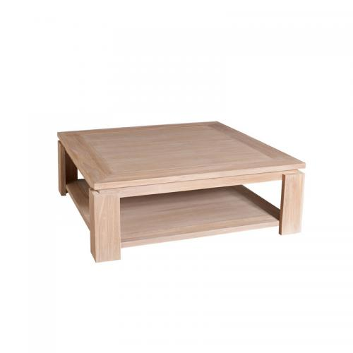 3 SUISSES - Table basse carrée double plateau 90 x 90 cm en teck blanchi - Blanchi - Salon