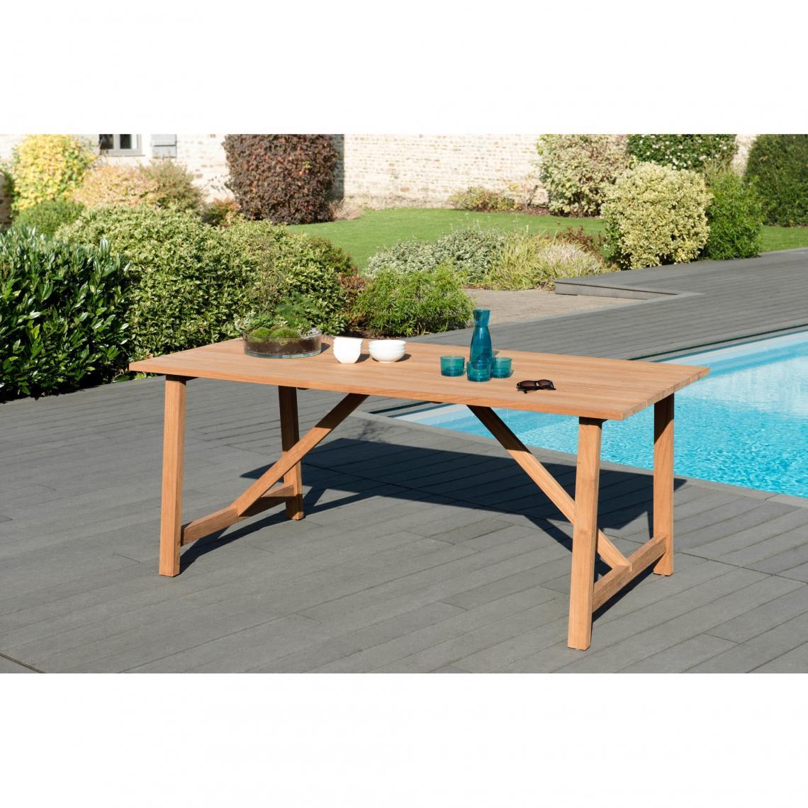 Table de jardin rectangulaire en teck massif Soho - Teck | 3 ...