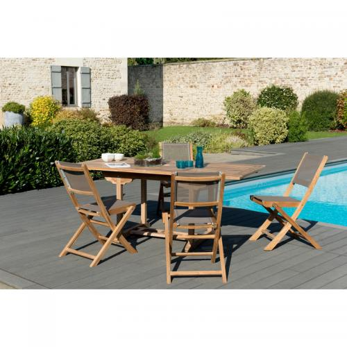 MACABANE - Ensemble table rectangulaire extensible + chaises pliantes en teck massif et textile - Teck - Ensemble table, chaise